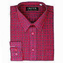 Top Grade Men's Long Sleeve Gingham Wrinkle Dress Shirt (QRJ007-3) -Free Shipping by Air Mail