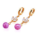 Fashion Yellow Gold Multi-Gemstone Drop Flower Earrings (EMY2-0006)