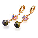 Fashion Yellow Gold Multi-Gemstone Drop Flower Earrings (EMY2-0006-Peridot)