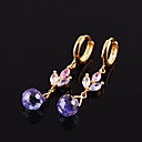 Fashion Yellow Gold Multi-Gemstone Drop Flower Earrings (ERS018-blue-topaz) (Start From 3 Units)