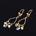 Yellow Gold Chandelier Floral Drop Lever Back Earrings (ERS019) (Start From 3 Units)
