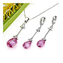 Romantic Cubic Zirconia Necklace and Earring Set - CZ Jewelry Set SLX--0051(SZY359)