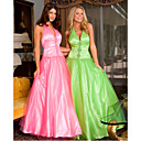 Ball Gown Halter Floor-length Satin Evening Dress / Prom Dress (HSX820)