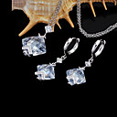 Stylish Clear Cubic Zirconia Necklace and Earring Set - CZ Jewelry Set SZF-0040 SZY353