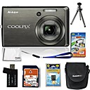 Nikon Coolpix S600 10.3MP Digital Camera with 2.7-inch LCD + 4GB SD + Battery + 6 Bonus (SZW607)