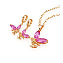 18K Gold Plated Angel CZ Jewelry Set - CZ Jewelry Set SMY--0014-Pink (SZY511)