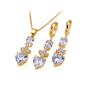 18K Gold Plated Heart Shape Earring And Necklace Set - Cubic Zirconia Jewelry Set SDX--0046 (SZY1186