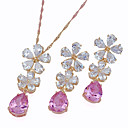 18K Gold Beautiful Shining CZ Necklace and Earring set-CZ Jewelry Set 90224-04 (SZY1483)