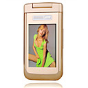 Longxing v6 dual card tri-band tv flip touch-screen mobiele telefoon goud