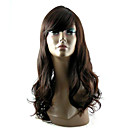 Capless Long Synthetic Dark Coffee European Weave Hair Wig