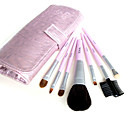 5 Sets Mixed Hair Cosmetic Brush Set With Free Pink Leather Case