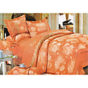 6-pc Luxury Orange Jacquard Cotton Full Size Duvet Cover Set - Free Shipping (0586-FZ011)