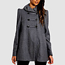 Frill Necked Military Wool Pea Coat Women's Coat(19)