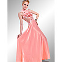 A-line High Neck Sleeveless Floor-length Elastic satin Quick Delivery Dress (OFGH0285)