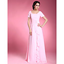 A-line Square Short Sleeve Floor-length Chiffon Mother of the Bride Dress