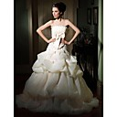 Ball Gown Strapless Court Train Organza Satin Pick-up Wedding Dress