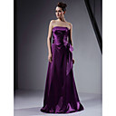 A-line Strapless Floor-length Stretch Satin Bridesmaid/Wedding Party Dress