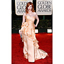 Christina Hendricks gaine / Cour Sweetheart colonne trains globe sans manches en satin doré / robe de bal (fsl0541)