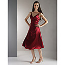 A-line V-neck Tea-length Satin Bridesmaid/ Wedding Party Dress (HSX867)