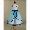 Ball Gown Spaghetti Straps Tea-length Satin Organza Flower Girl Dress