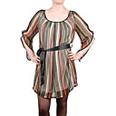 Half Sleeves Round Neckline Pleated Colorful Stripes Belted Chiffons Women's Dresses(1802BC001-0826)