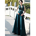 A-line V-neck Floor-length Sleeveless Elastic satin Quick Delivery Dress (OFGH0308)