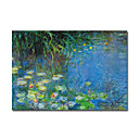 Handmade Painting Water Lilies Claude Monet Stretched Ready to Hang(0192-YCF102694)