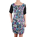 Zippers Front Flowers Printed Dresses / Women's Dresses (1802BD015-0736)