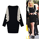 FASHION IDOLS Style / Long Bat Sleeves Round Neckline Double Color Dress / Women's Dresses (FF-1801BE021-0736)