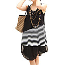 2-ways Asymmetrical Lower Hem Stripes Sleeveless Maternity Dress / Maternity Wear (FF-1801BE306-0736)