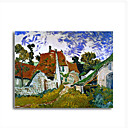Stretched Canvas Handmade Street in Auvers Les Toits Rouges Painting by Vincent Van Gogh 0192-YCF103195