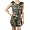 Cowl Neck Sleeveless Golden Sheer Jersey Dress / Women's Dresses (FF-1801BF032-0851)