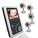 2.5 Inch TFT LCD 2.4GHz Wireless DVR Baby Monitor Kit with 4 pcs 1/3 CMOS Camera with Night Vision