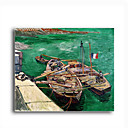 Stretched Canvas Handmade Landing Stage with Boats,c.1888 Painting by Vincent Van Gogh 0192-YCF103184