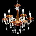 Clearance!Candle 6-light Tawny K9 Crystal Chandelier