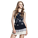 Handmade Sequins Layered Ruffle Hem Sleeveless Round Neckline Dress / Women's Dresses (FF-B-BH0736006)