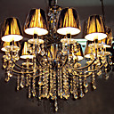 Chrome Finish Crystal Chandelier with 8 Lights (Colorful Shade)