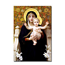 Hand-painted  La Vierge au lys by William Adolphe Bouguereau  with Stretched Frame