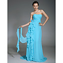 Chiffon Sheath/ Column Sweetheart Sweep Train Evening Dress inspired by Katrina Bowden at Emmy Awards