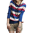 Pierced Design Colorful Stripes Long Sleeves Slit Neckline Sweater / Women's Sweaters (FF-C-BI0736616)