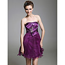 A-line Sweetheart  Short/Mini  Sleeveless Stretch Satin Tulle  Cocktail Dress