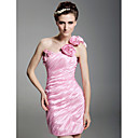 Sheath/Column One Shoulder Short/Mini  Taffeta  Cocktail Dress