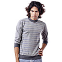 PURE CASHMERE / Stripes Long Sleeves Round Neckline / Men's Cashmere Sweaters (FF-C-BI0736824)