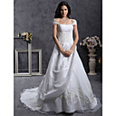 A-line Off-the-shoulder Court Train Organza Taffeta Wedding Dress