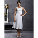 Sheath/Column Scoop Tea-length Chiffon Wedding Dress