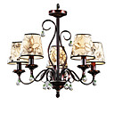 Iron Chandelier with 5 Lights - Floral Shade