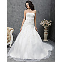 A-line Strapless Chapel Train Satin Organza Wedding Dress