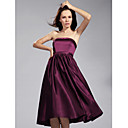 A-line Strapless Tea-length Satin Bridesmaid/ Wedding Party Dress (FSD0224)