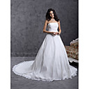 Ball Gown Strapless Cathedral Train Chiffon Over Satin Wedding Dress