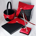 Elegant Wedding Collection Set In Bold Red And Black Satin (4 Pieces)